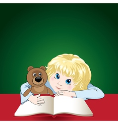 child reads a book vector image vector image