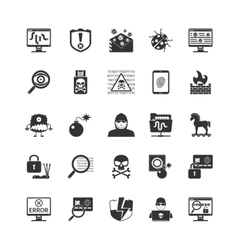 Hacker Black Icons Set vector image