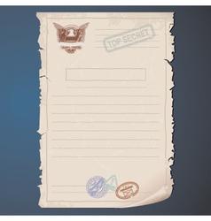 Old Top Secret Document vector image vector image