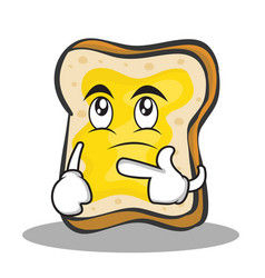 thinking face bread character cartoon vector image vector image
