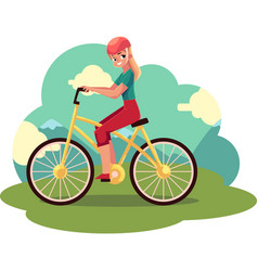 Young pretty blond woman girl riding a bicycle vector