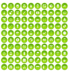 100 family camping icons set green circle vector