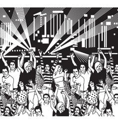 Disco open air crowd young people dance black and vector image