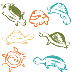 funky turtles icon set vector image