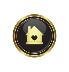 Home icon with heart vector image vector image