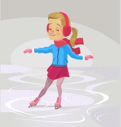 Little smiling girl character skates vector