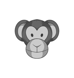 Monkey face icon black monochrome style vector image vector image