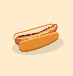 hot dog with mustard and ketchup vector image