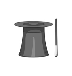 Magician hat and magic wand icon vector image
