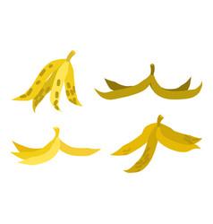 peel banana set trash garbage white background vector image