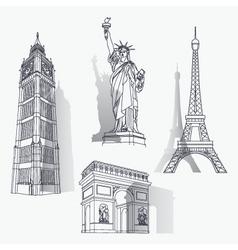 set of famous landmarks vector image