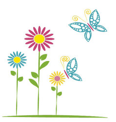butterflies and flowers 16 vector image vector image
