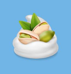 pistachio nuts in ice cream or yogurt realistic vector image