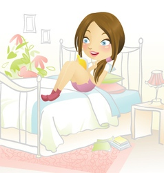 Reading in bed vector image vector image