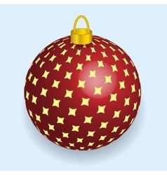 Red with yellow stars Christmas ball reflecting vector image
