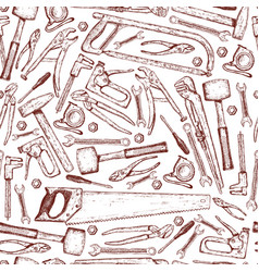 seamless pattern of repair tools icons vector image