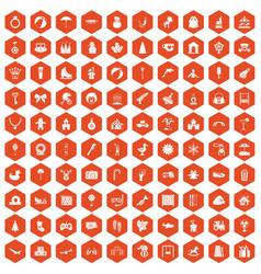100 happy childhood icons hexagon orange vector image vector image