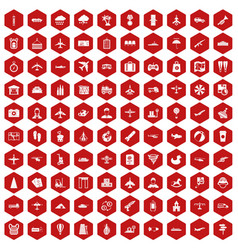 100 plane icons hexagon red vector