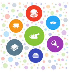 7 meat icons vector