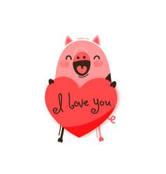 a happy pig with valentine and message i love vector image