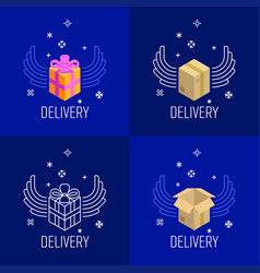 Abstract container and gift boxes with wings vector
