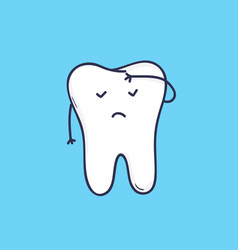 Adorable molar tooth with face covering its vector