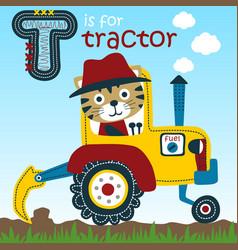 Animal farmer on tractor cartoon vector