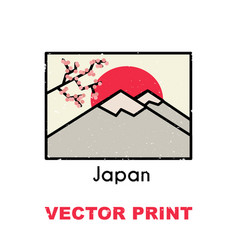 asian t-shirt print with the sunrise in mountains vector image