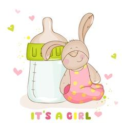 Baby arrival card - cute baby bunny vector