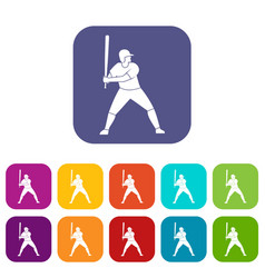 Baseball player with bat icons set flat vector