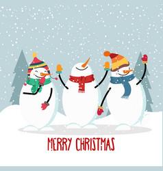 beautiful flat design christmas card with joyful vector image