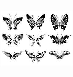 Black and white butterflies tattoo design vector