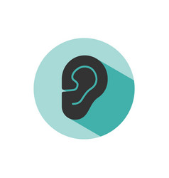 body senses heard ear icon with shade on green vector image