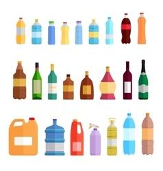 Bottle Set Design Flat Oil and Beverage vector image