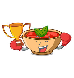 Boxing winner tomato soup character cartoon vector