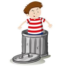 Boy in trashcan alone vector