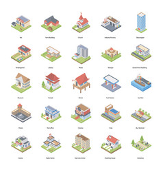 Buildings isometric icons vector