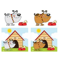 bulldog cartoon character collection - 2 vector image