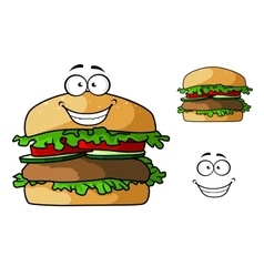 Cartoon fast food hamburger character vector