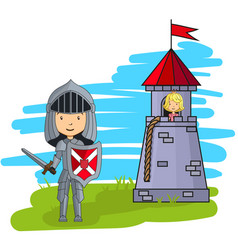 Cartoon knight going to rescue princess from the vector