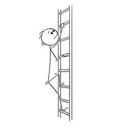 cartoon of man or businessman climbing up ladder vector image
