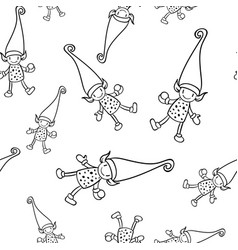 christmas doodle elf seamless pattern on white vector image
