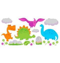 colorful simple flat dinosaur set vector image