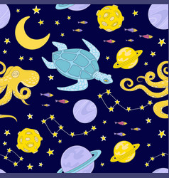 constellation space cute seamless pattern vector image
