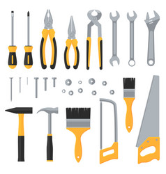 Construction hardware industrial tools flat vector