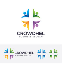 Crowd health logo design vector