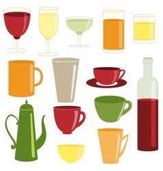 Cups and glasses collection vector image