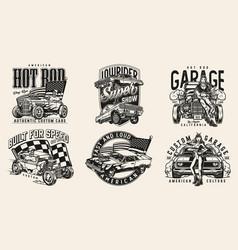 Custom american cars vintage logos vector