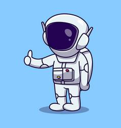 Cute astronaut thumbs up cartoon vector