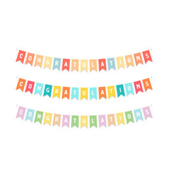cute bunting flags with letters congratulation vector image